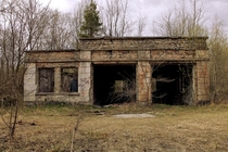 Abandoned military garage in the woods
