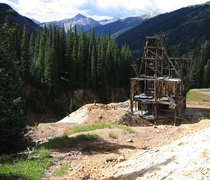 Abandoned mining dredge at the Silver Ledge Mine in the area of upper Mineral Creek near Silverton Colorado