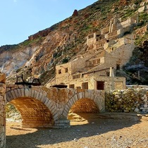Abandoned mining village on the coast of an island in Greece