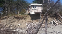 Abandoned mobile home due to erosion at Washaway Beach near Tokeland Washington