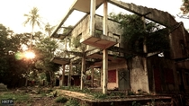 Abandoned modernist French villa in Cambodia being digested by nature