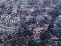 Abandoned Native American ruins on the side of a cliff at Walnut Canyon NP Coconino County AZ
