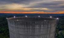 Abandoned nuclear reactor cooling tower