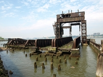 Abandoned NY Central Railroad th Street Transfer Bridge on the Hudson River