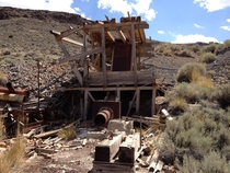 Abandoned ore smelter Cinnabar City Mine Nevada