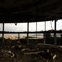 Abandoned panoramic restaurant in Lisbon Portugal