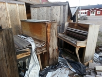 Abandoned pianos in broken crates - Gvle Sweden