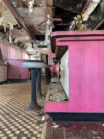 Abandoned pink themed Diner in the middle of nowhere