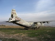 Abandoned plane on tanks at Bagram Airport Afghanistan