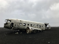 Abandoned plane wreck off Icelandic coast from