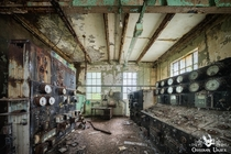 Abandoned power plant control room England