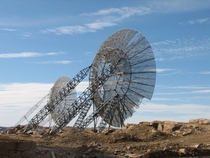 Abandoned radar dishes at Nunavut Canada