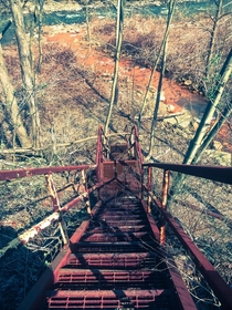 Abandoned railroad bridge stairs to the Potomac River Beryl West Virginia