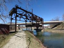 Abandoned railroad lift bridge over CampO Canal Williamsport Maryland