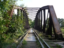 Abandoned railway bridge over Nysa Kodzka in Otmuchw