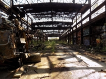 Abandoned railway repair building