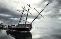 Abandoned replica ghost ship  Every time I travel to Canada I take photos of it  Its called La Grande Hermine