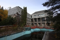 Abandoned Resort in Ontario Canada outdoor pool large structure