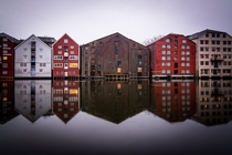 Abandoned river building in the middle of Trondheim Norway