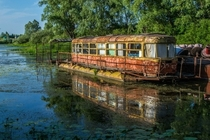 Abandoned river tram the Desna River Ukraine