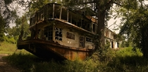 Abandoned riverboat along the Mississippi River Mamie S Barrett