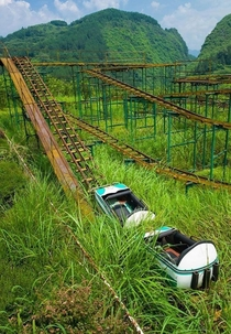 Abandoned roller coaster in Hubei Province China