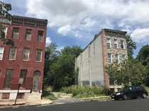 Abandoned rowhouses in Baltimore Maryland