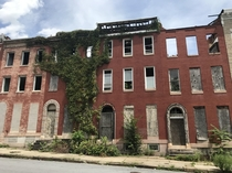 Abandoned rowhouses in Baltimores infamous west side