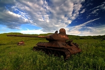 Abandoned Russian T- Tanks in Kyrgyzstan x-post from rTankPorn