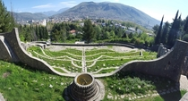 Abandoned s era modernist-style WWII cemetery in the ethnically divided city of Mostar Bosnia