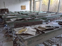 Abandoned school classroom Prypiat Ukraine