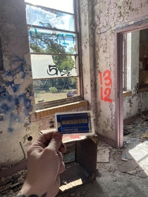 Abandoned school in Birmingham AL Found an old blockbuster card in what I think was the principals office