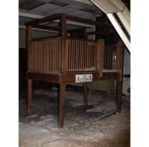 Abandoned school in Illinois  foot crib that says Dont feed the bears Theyre stuffed
