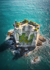 Abandoned Scola Tower off the coast of Liguria Italy Built in the th century and destroyed in