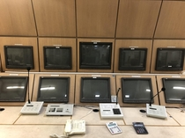 Abandoned security control room with VHS recording