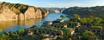 Abandoned settlement in dramatic landscape Laoniuwan Bend of the Yellow River