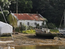 Abandoned shed and boat in Wales
