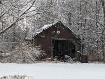 Abandoned shed on my property is beautiful in the snow