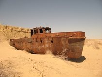Abandoned ship in what used to be the Aral Sea