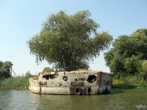 Abandoned ship made of concrete in Astrakhan