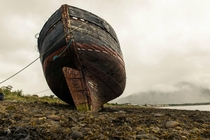 Abandoned ship on the shores of Loch Linnhe Scotland OC