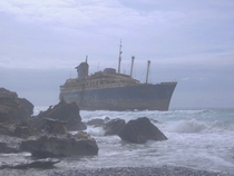 Abandoned ship SS America wrecked off the coast of Fuerteventura
