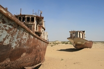 Abandoned ships in the Aral Sea