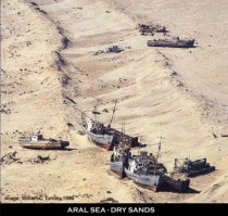 Abandoned ships in the desert that was the Aral Sea a few decades ago