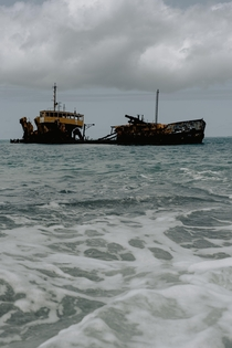 Abandoned shipwreck in St Martin