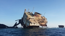 Abandoned shipwreck off the coast of Egypt
