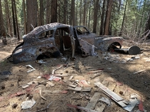 Abandoned shot up car Last Chance mine near Forrest Hill Northern California