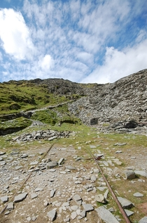 Abandoned slate mine taken on the way up the Old Man of Coniston Lake District UK
