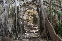 Abandoned slavery prison in Guadeloupe French West Indies Caribbean