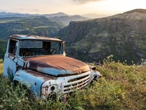 Abandoned Soviet era ZIL truck in the Debed valley of Lori northern Armenia